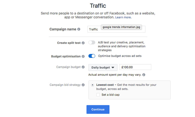 facebook traffic objective