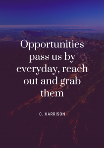Opportunities pass us by everyday, reach out and grab them